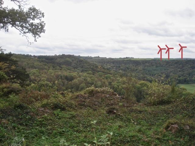 Simulation de quelques mâts éoliens installés sur le plateau de Viet, tels qu'ils seront vus depuis Poilvache